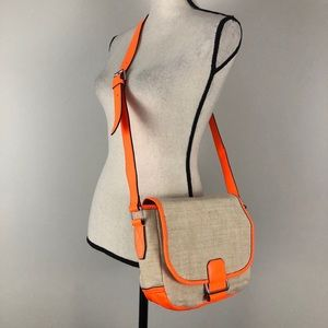 Gap Canvas & Neon Leather Crossbody Bag